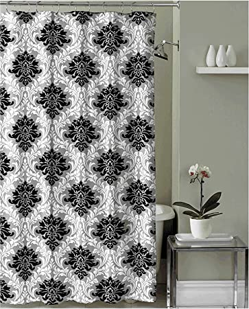 Black Grey White Embossed Fabric Shower Curtain Floral Damask Design