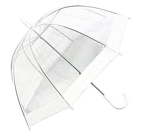 Happy Rain Paraguas Transparente Transparente Boda Pantalla Campana Pantalla Color Blanco