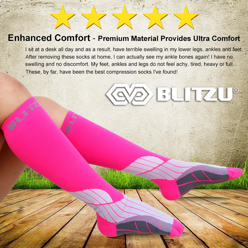 BLITZU Compression Socks 15-20mmHg for Men & Women BEST Recovery Performance Stockings for Running, Medical, Athletic, Edema, Diabetic, Varicose Veins, Travel, Pregnancy, Relief Shin Splint S/M Pink by BLITZU (Image #3)
