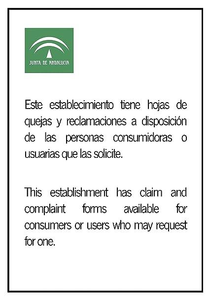 Wayshop | Señalética | Información de Existencia Hojas de Reclamaciones Junta de Andalucía | Material PVC 3 mm | Medidas 21cm x 29,70cm | A4