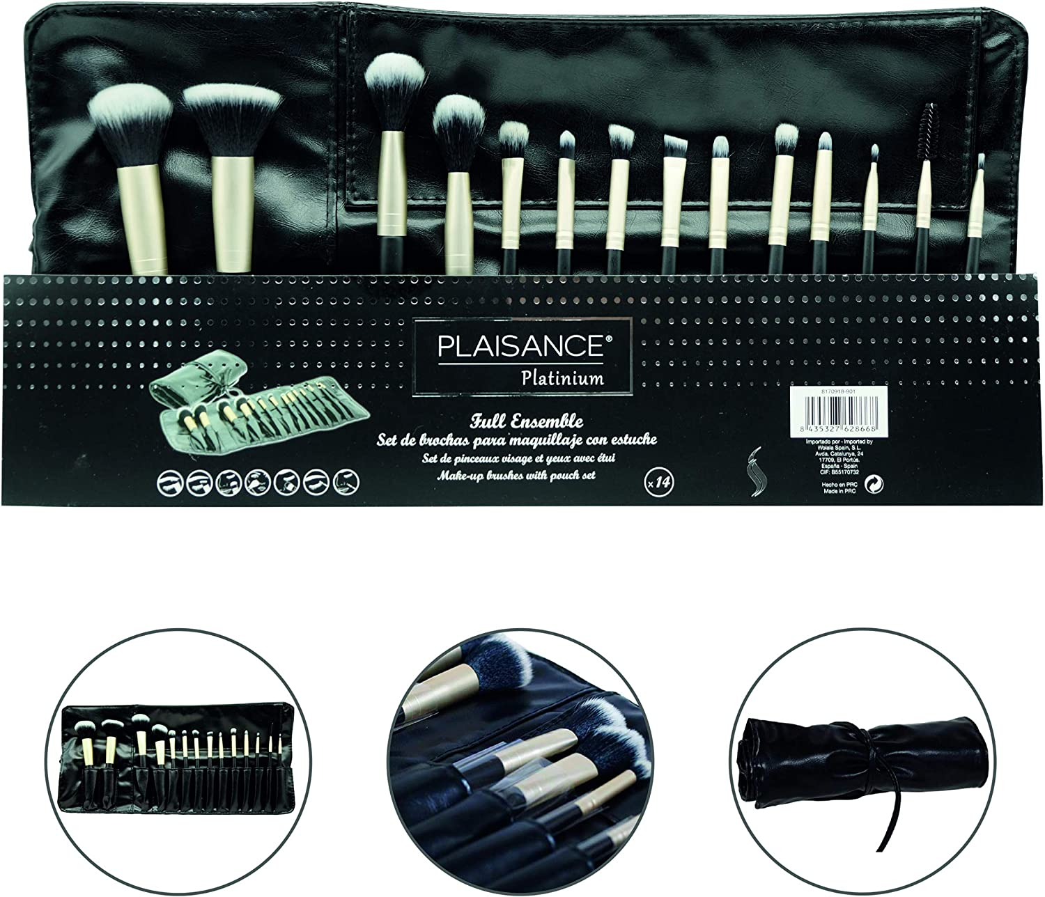 Plaisance Platinum. Full Ensemble. Set de Brochas para maquillaje profesional con estuche. 14 piezas. Color negro/dorado.: Amazon.es: Belleza