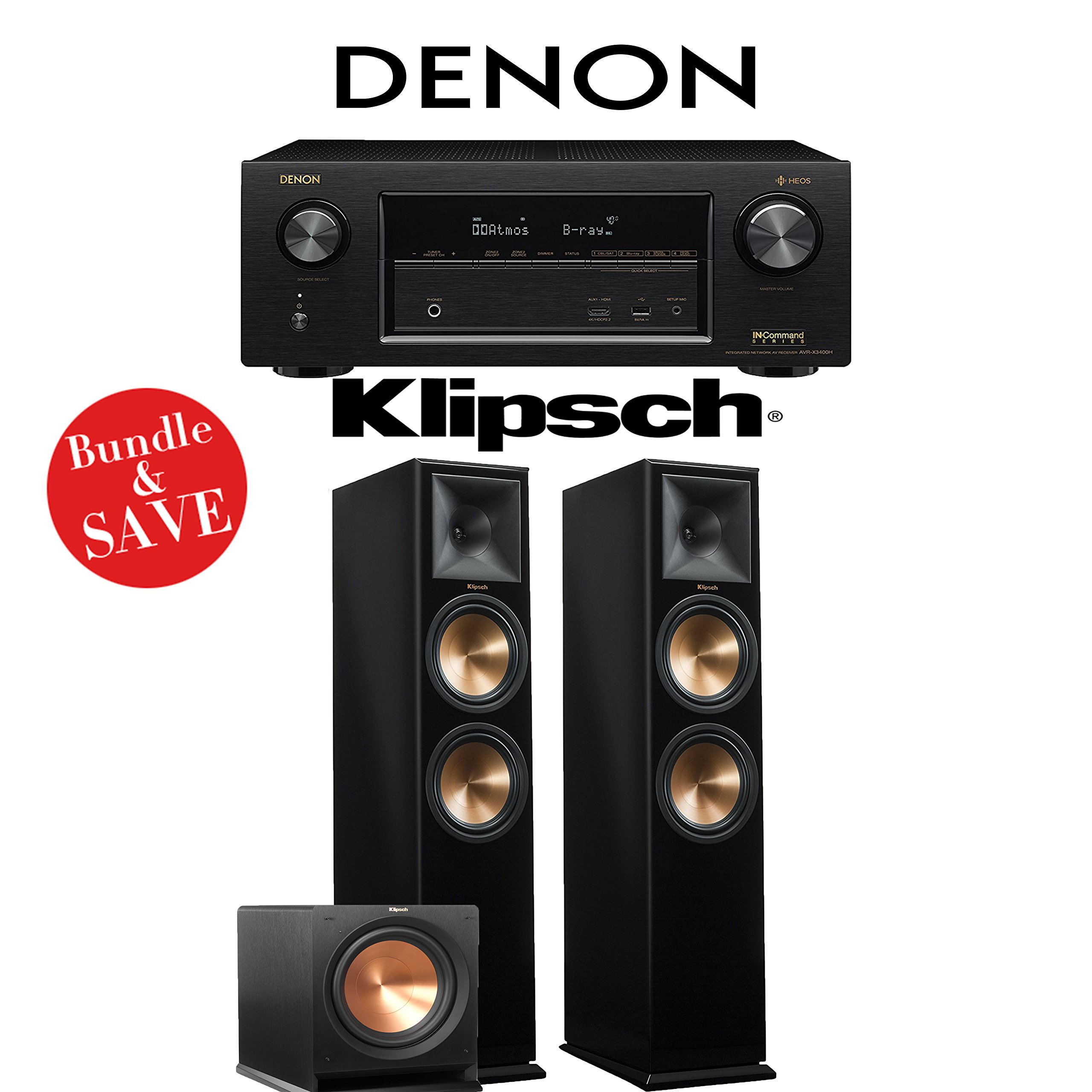 Denon AVR-X3400H 7.2-Channel Full 4K Ultra HD Network AV Receiver + Klipsch RP-280F + Klipsch R-112SW - 2.1-Ch Home Theater Package (Piano Black) by Denon