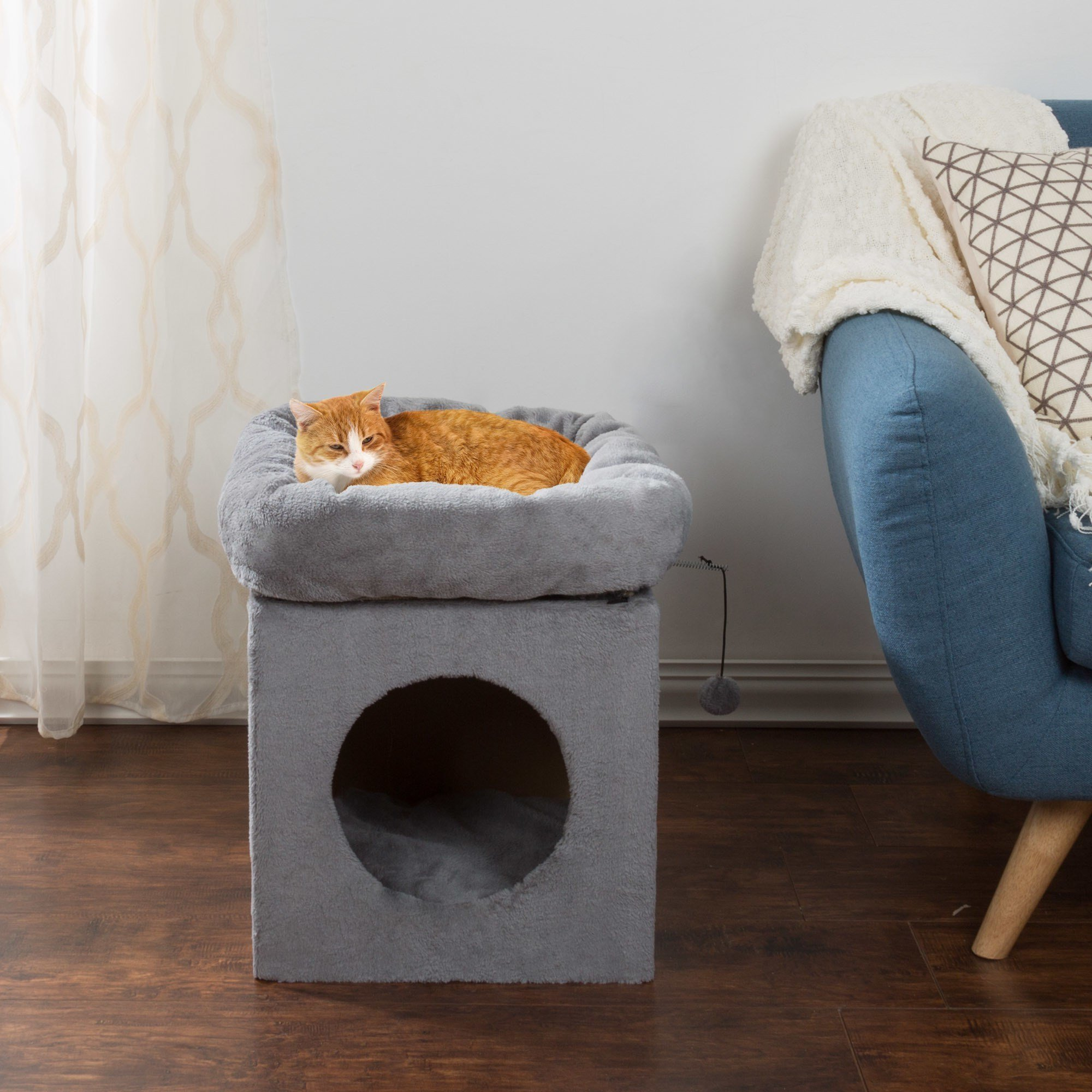1 Piece Grey 20 Inches High Scratcher Cat Condo, Gray Tunnel Bed Pet House Kitty Furniture, Cave Shaped Round Opening Removable Plush Cushion Pads Ball Toy Fluffy Cubbyholes Joint Support, Polyester