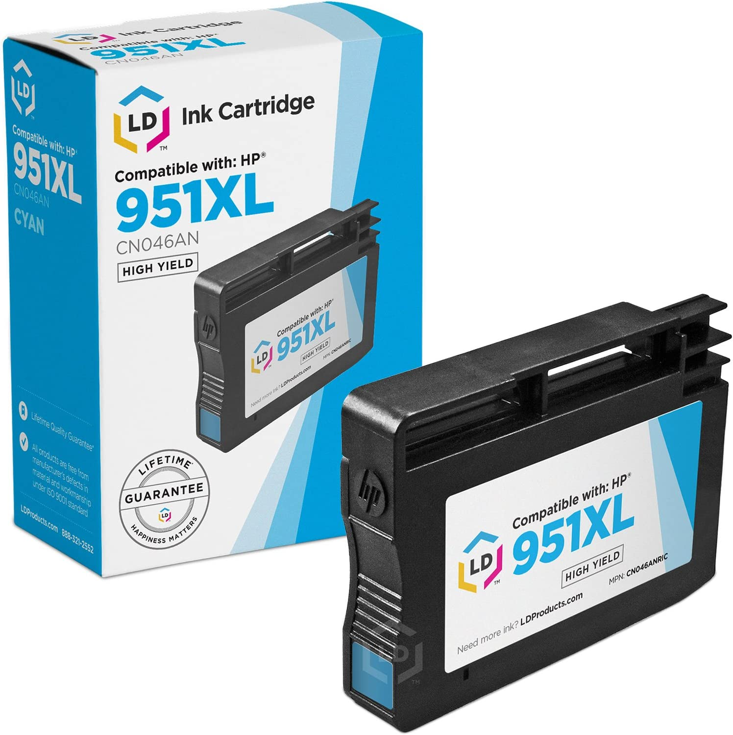 LD Remanufactured Ink Cartridge Replacement for HP 951XL CN046AN High Yield (Cyan)