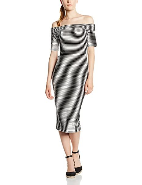 Only Onllive Love Off Shoulder Calf Dress, Vestido para Mujer, (Black Stripes: