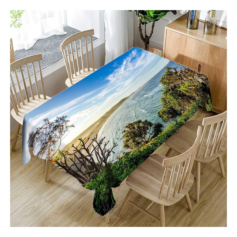ZHAOXIANGXIANG Tabla Impermeable De Poliéster Impreso Digital Mat Romántico Paisaje del Mar Azul Decoracion Un Mantel,140Cmtimes;280Cm