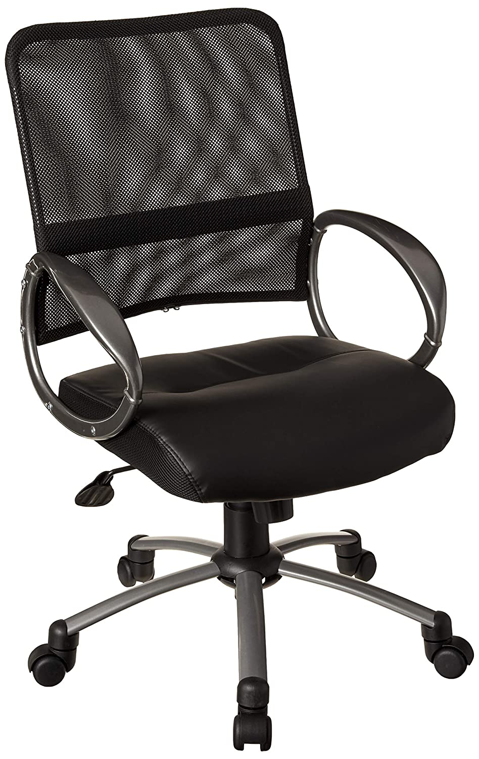 Boss Office Products Mesh Back Task Chair with Pewter Finish in Black