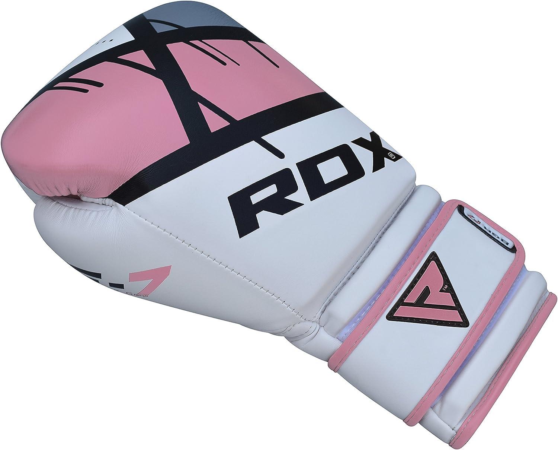 RDX Gants de Boxe Femme Muay Thai Kickboxing Rose Gant Sac Frappe Entrainement Sparring Competition Mitaines Maya Hide Cuir Boxing Gloves