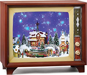 "Roman Christmas - Train in Village TV with Falling Snow Amusement, Lighted, 14.5"" H, Christmas Collection, MDF, Amusements, Giftware, Inspirational, Durable, Battery Operated"