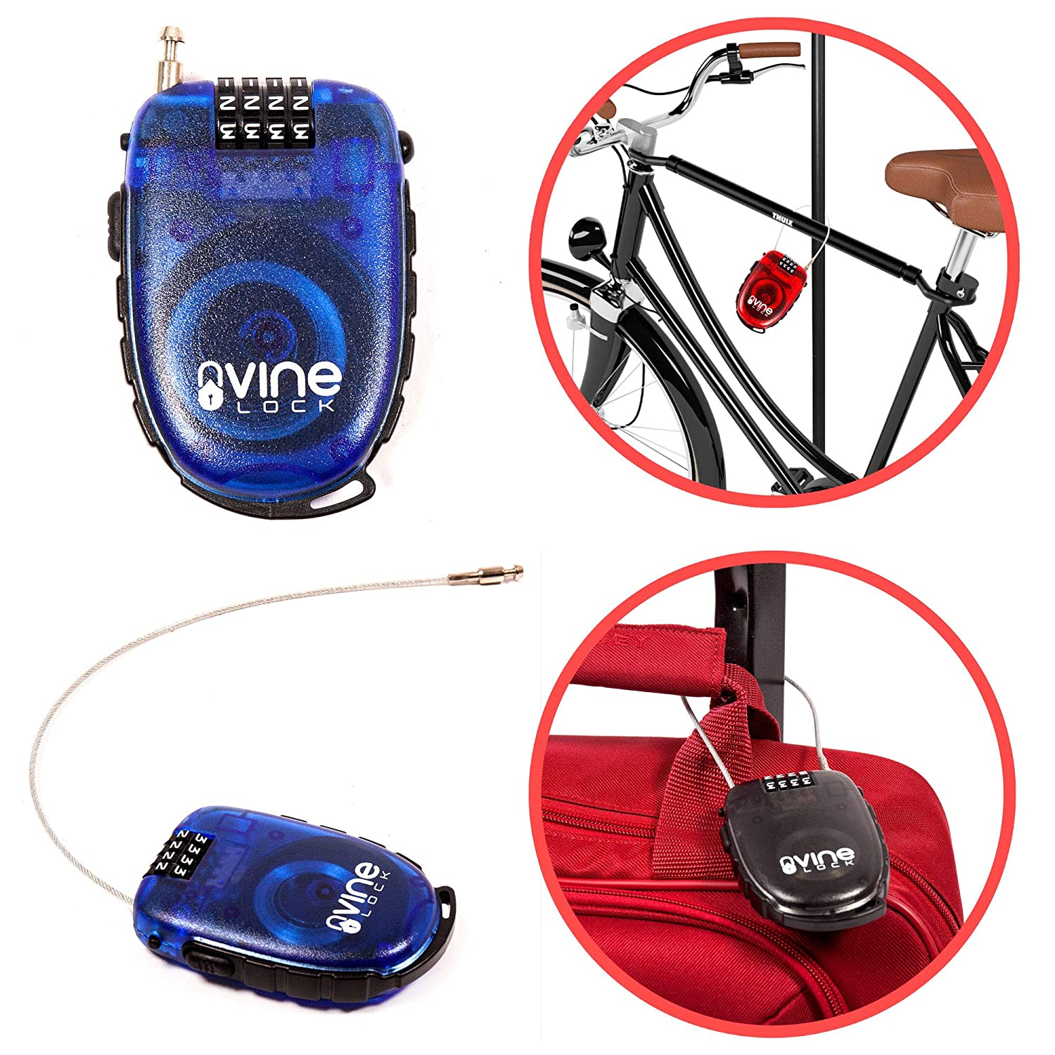 Vine Lock Ultra Secure Retractable 4 Digit Combination Secure Cable Lock for Travel//Bike//Suitcases Transparent RED