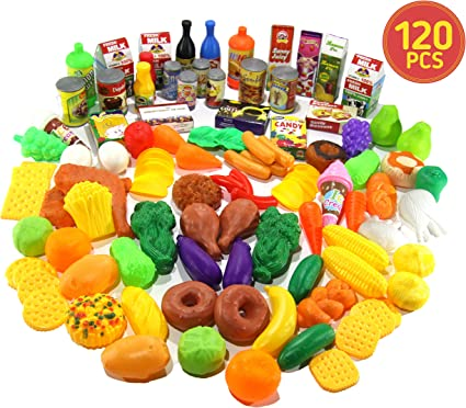 Kids Toy Food for Play - 120 PCS Deluxe Pretend Fake Food Set for Kids  Educational Kids Kitchen Toys - Big Toy Food Assortment Play Kitchen ...