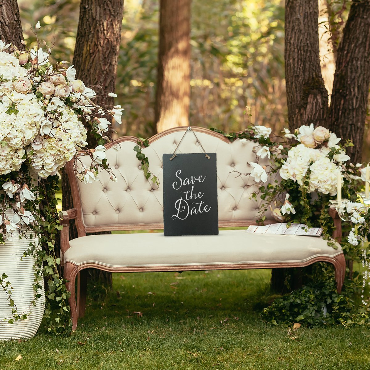 Vintage Frameless Slate Chalkboard Sign (8''x12'') - Decorative Hanging Chalk Board for Rustic Wedding Signs, Kitchen Pantry & Wall Decor by VersaChalk (Image #2)
