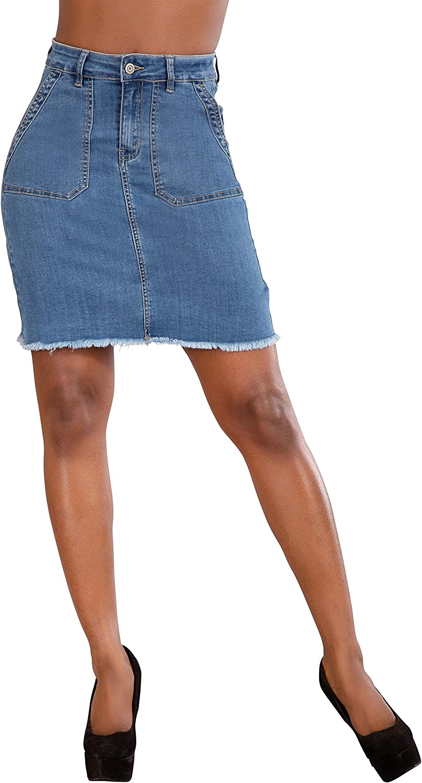 Falda Vaquera para Mujer Minifalda Jeans Casual Elastica para ...