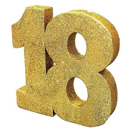 8 Gold Glitter 18th Birthday Table Decoration