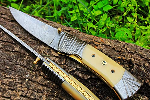 DKC Knives 2 7 18 Sale DKC-159 Crocodile Damascus 4.5 Folded 8 Open 9.5 oz Pocket Folding Knife Hand Made Incredible Look and Feel