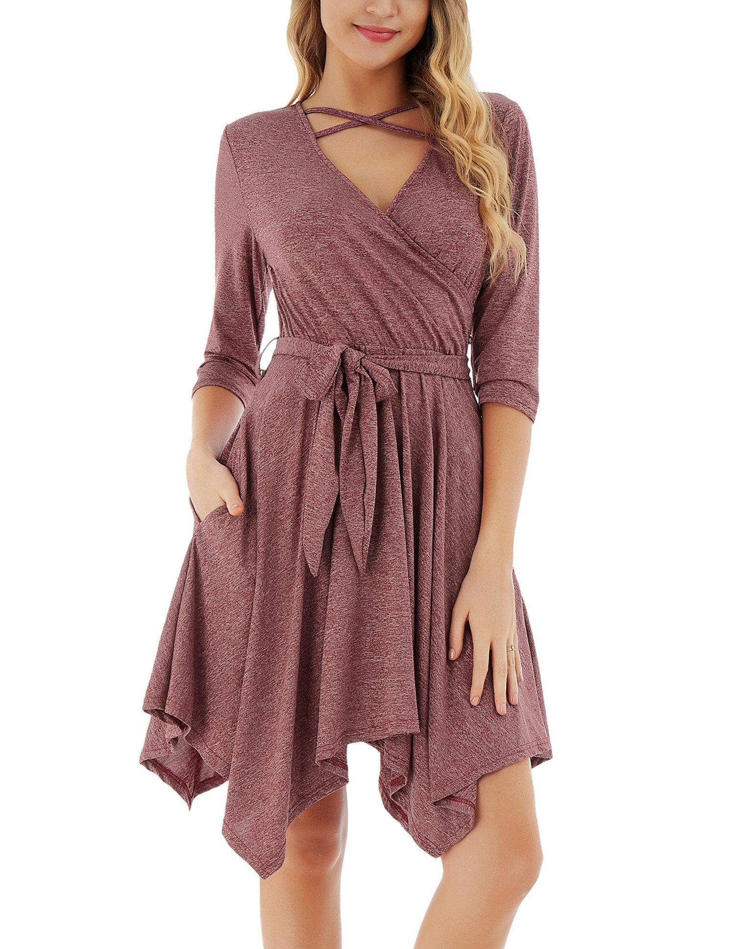 FISOUL Womens Tunic Dress Long Sleeve Criss Cross Casual Loose Party Swing Flared Midi Dress Wine Red S