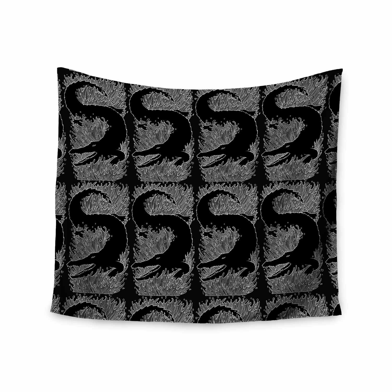 Kess InHouse BarmalisiRTB Crocodile Black White Digital, 68' x 80' Wall Tapestry