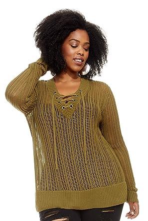 0b4eadbf0ec Women s Plus Size Jayda Open Stitch Lace Up Sweater - Green ...