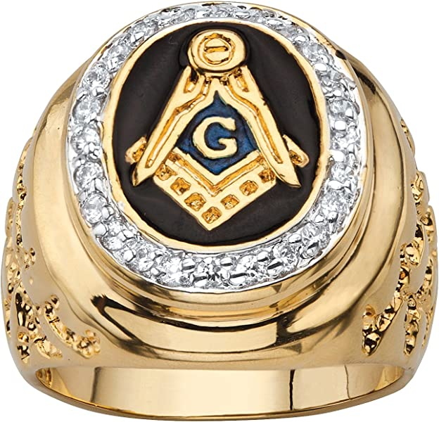 42ea74450dc7dc Palm Beach Jewelry Men s Oval Black Enamel and Cubic Zirconia 14k  Gold-Plated Masonic Nugget