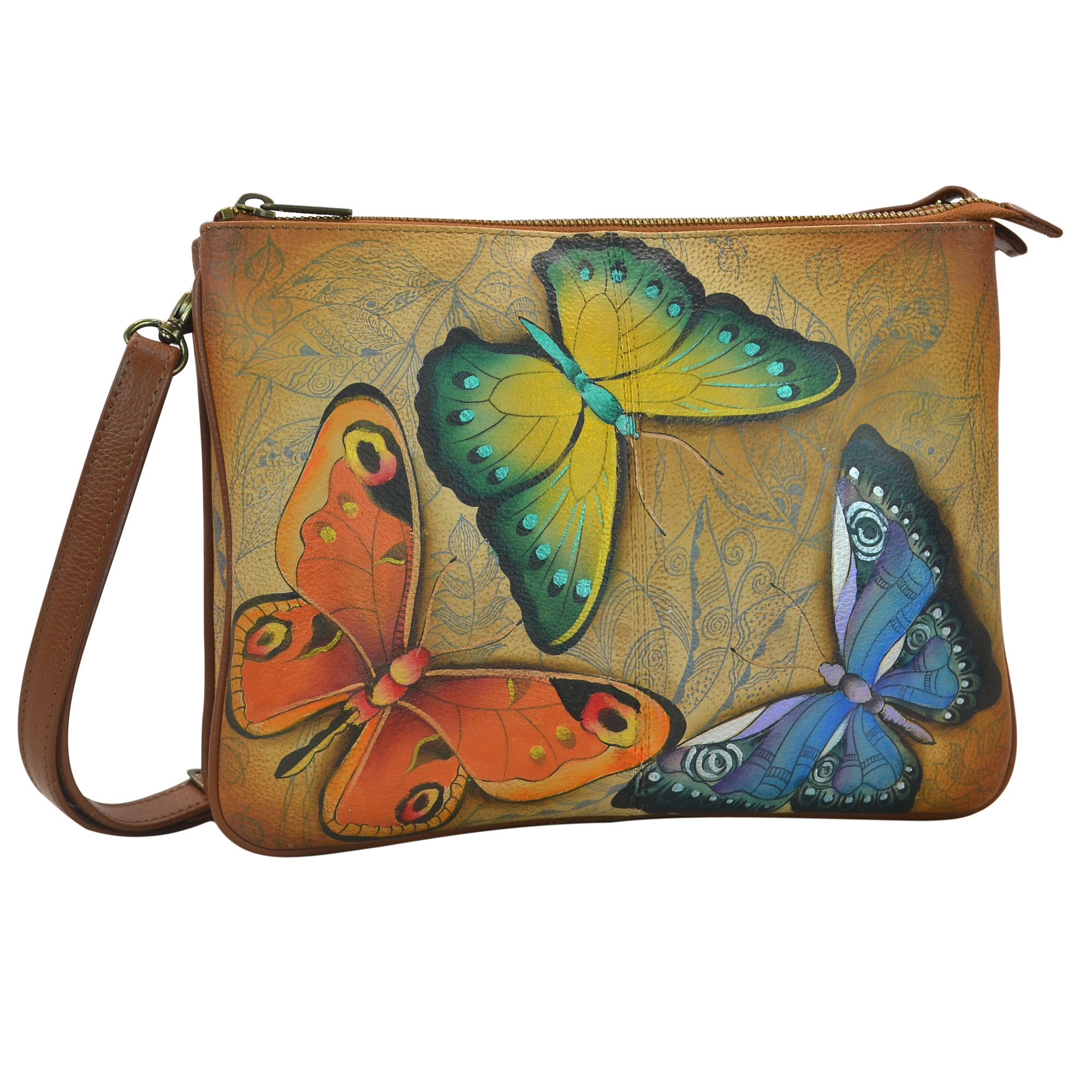 Anuschka Handpainted Leather Triple Compartment Crossbody, Earth Song
