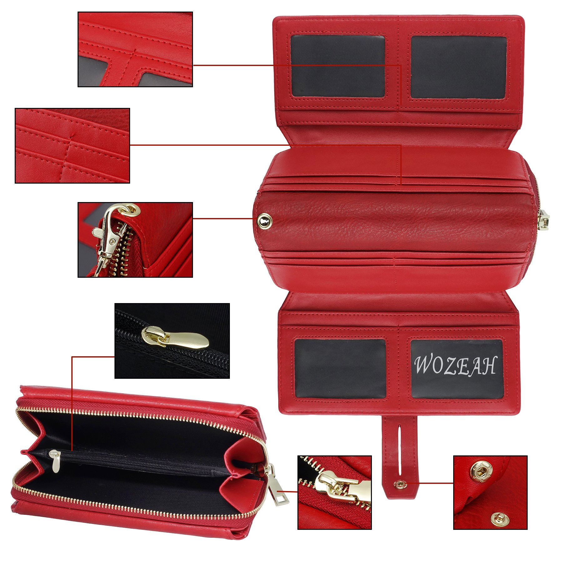 WOZEAH Women's PU Leather RFID Large Capacity Long Wallet Clutch Pures handbags Credit Card Holder Organizer Ladies Purse (red) by WOZEAH (Image #5)