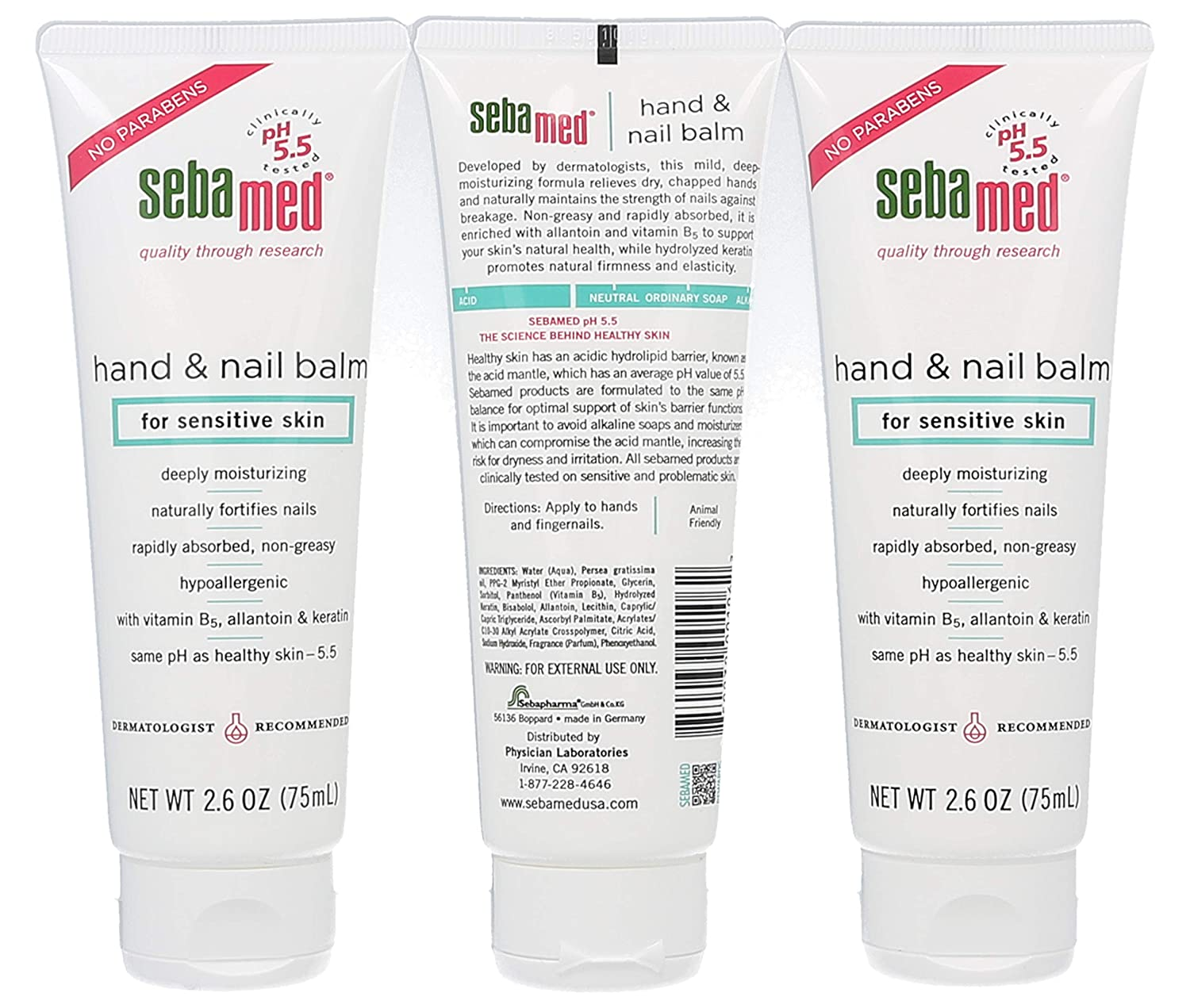 Sebamed Hand and Nail Balm pH 5.5 for Sensitive Skin Hypoallergenic Non-Greasy Dermatologist Recommended Moisturizer 2.6 Fluid Ounces 75mL Pack of 3