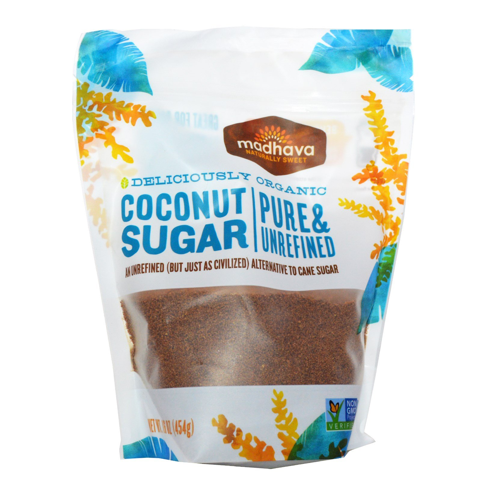 Madhava Natural Sweeteners, Deliciously Organic Coconut Sugar, 1 lb (454 g) Madhava Natural Sweeteners, Deliciously Organic Coconut Sugar, 1 lb (454 g) - 2pcs