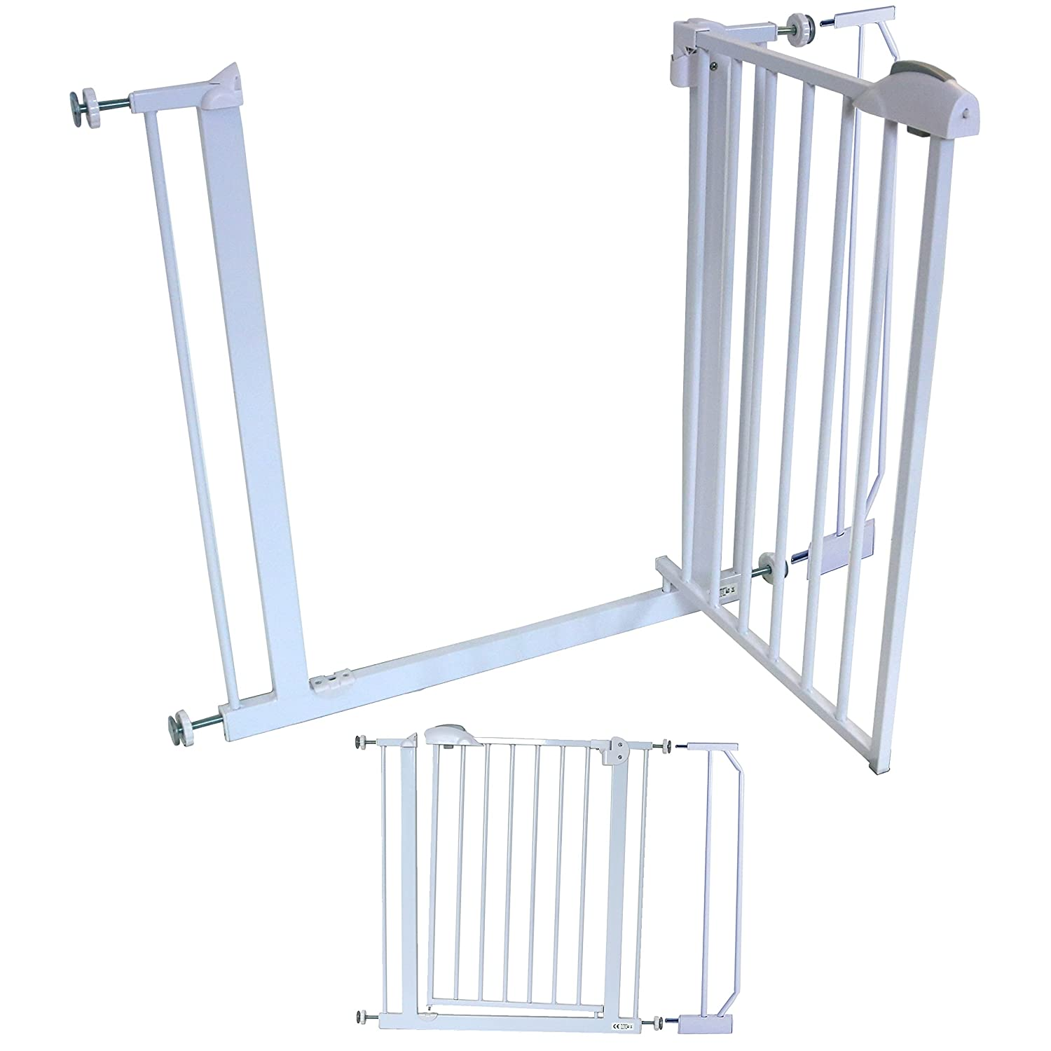 iSafe DeLuxe Stair Gate 90° STOP OPEN & Auto-Close StairGate (+ 10 CM Extension) AutoClose