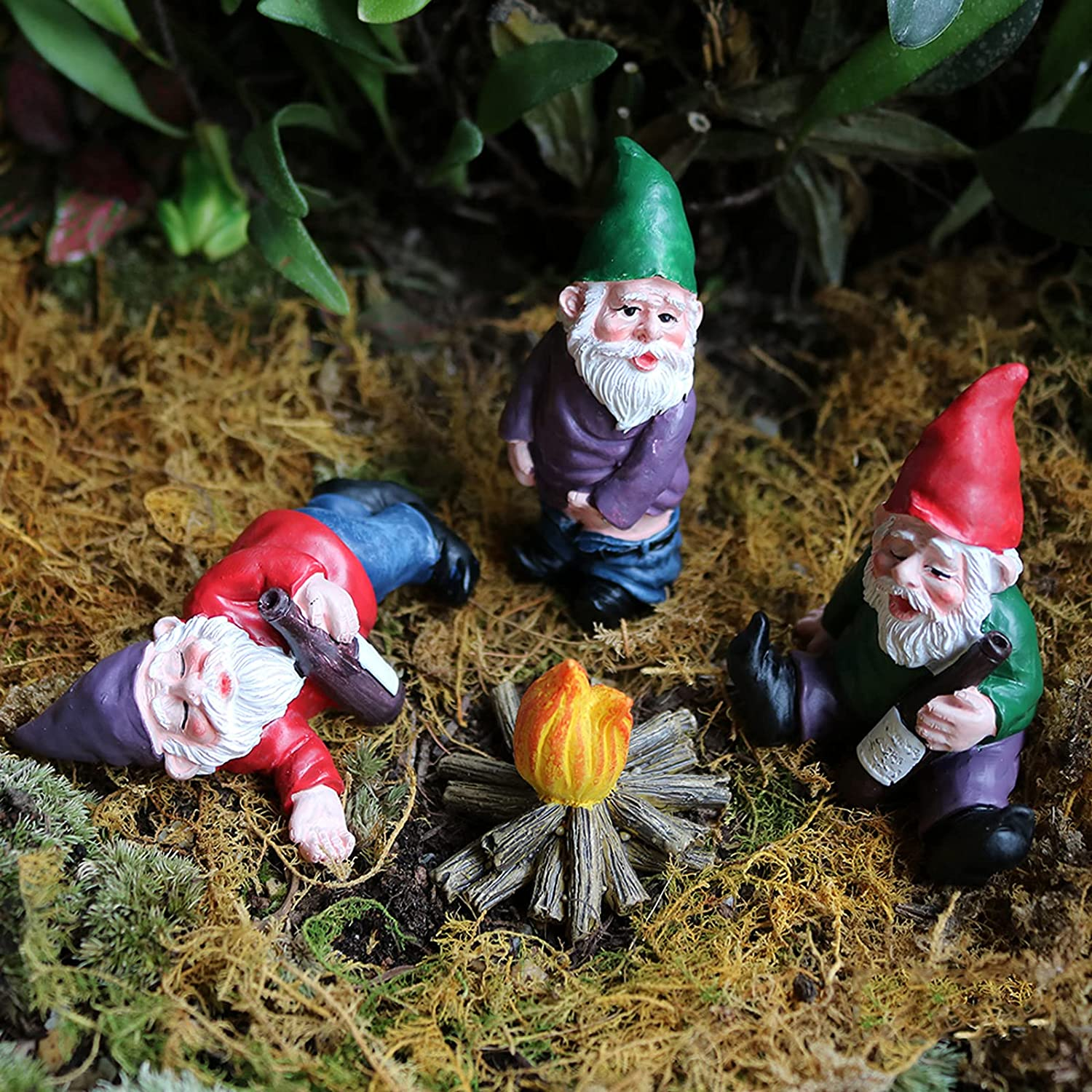 Miniature Gardening Gnomes, Drunk Dwarf Gnome for Fairy Garden, Garden Gnomes Statues Funny Accessories Collectible Figurines Indoor or Outdoor Decorations for Lawn Ornaments(4Pcs)