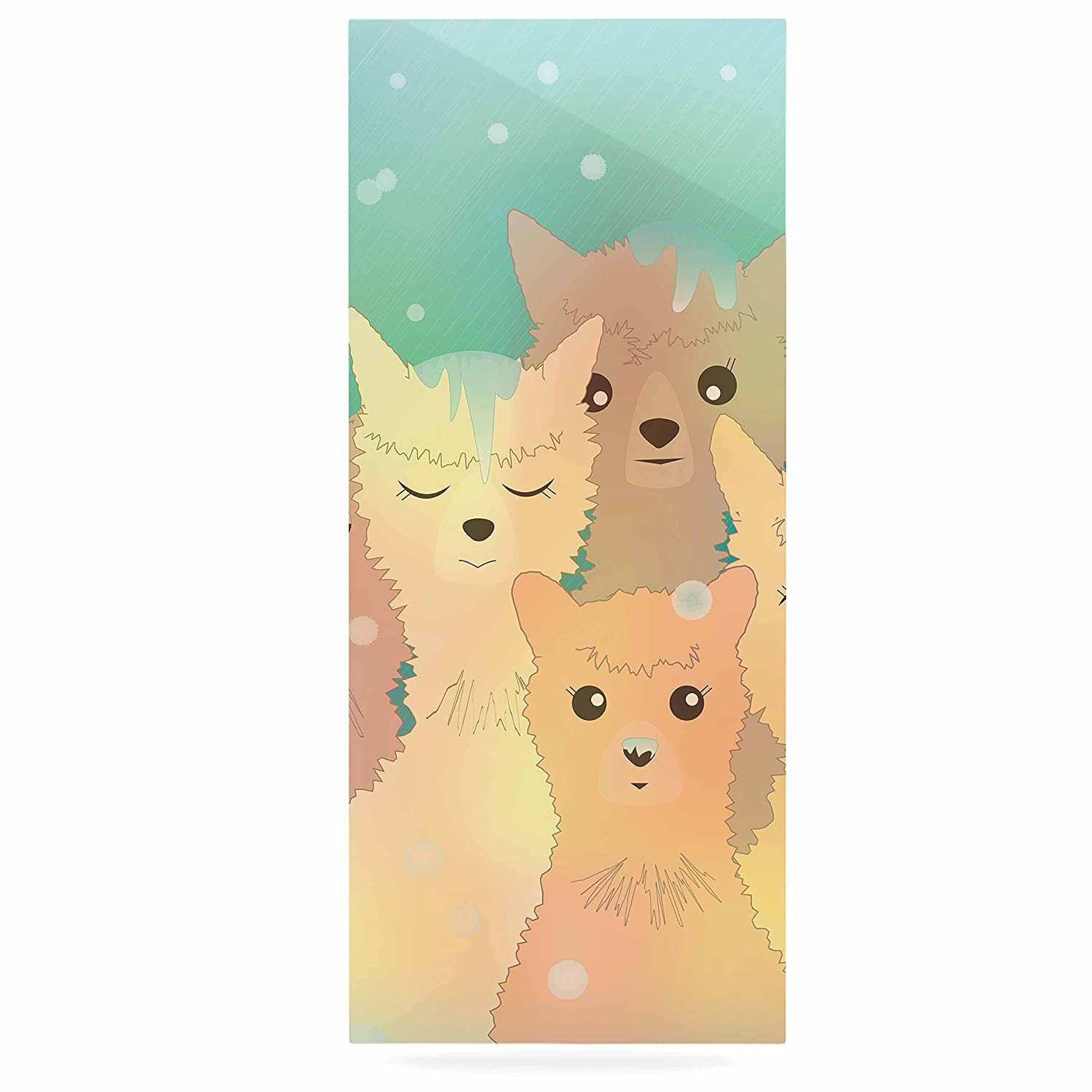 24 x 36 Kess InHouse Graphic Tabby Alpacas in Snow Pastel Animals Luxe Rectangle Panel