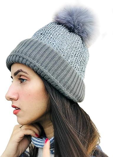 Buy Hair Drama Company Grey Pom Pom Ultra Soft and Warm Beanie Caps for  Women and Girl 44d97b6cdbc