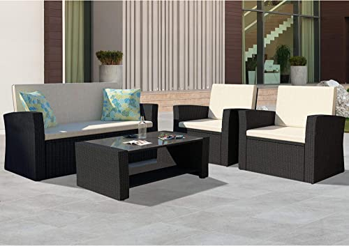 HEYNEMO Patio Conversation Sets 5-Piece Black PE Wicker Furniture Chair Set