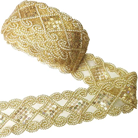 Golden Beads Lace Trimming Polyester Floral Ribbon Sewing Applique Wedding Decor