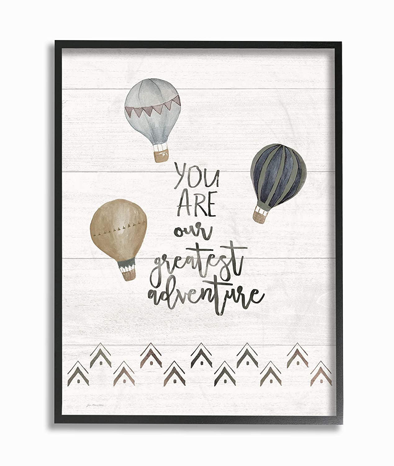 The Kids Room by Stupell Our Greatest Adventure Neutral Grey Hot Air Balloons Stretched Canvas Wall Art 24 x 30 Multi-Color Stupell Industries brp-2348/_cn/_24x30