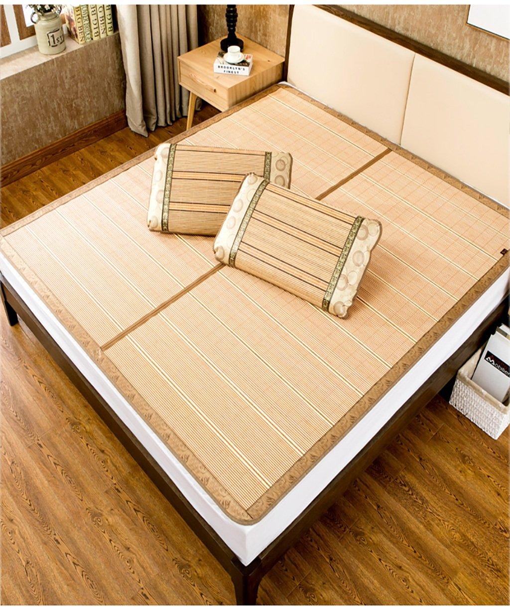 WENZHE Matratzen Strohmatte Teppiche Bambus Sommer Schlafmatten Haushalt Atmungsaktiv Faltbar Matten (Farbe : B, größe : 1  1.9m)