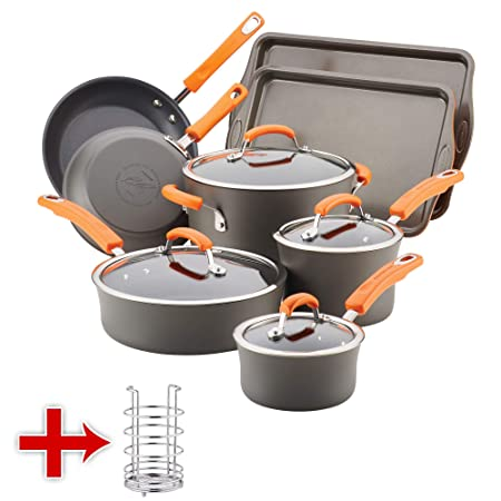 Rachael Ray Hard-Anodized Nonstick 12-Piece Cookware Set With Utensil Holder Orange Gray