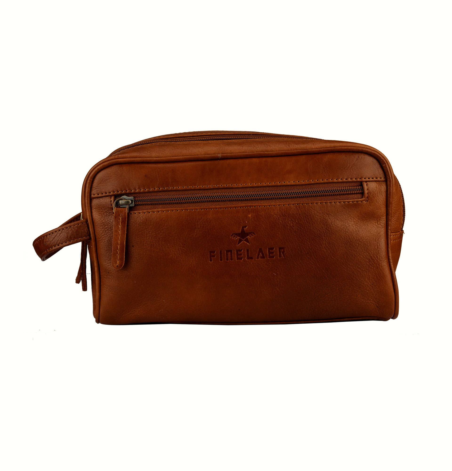 Finelaer Men Brown Leather Toiletry Travel Dopp Bag