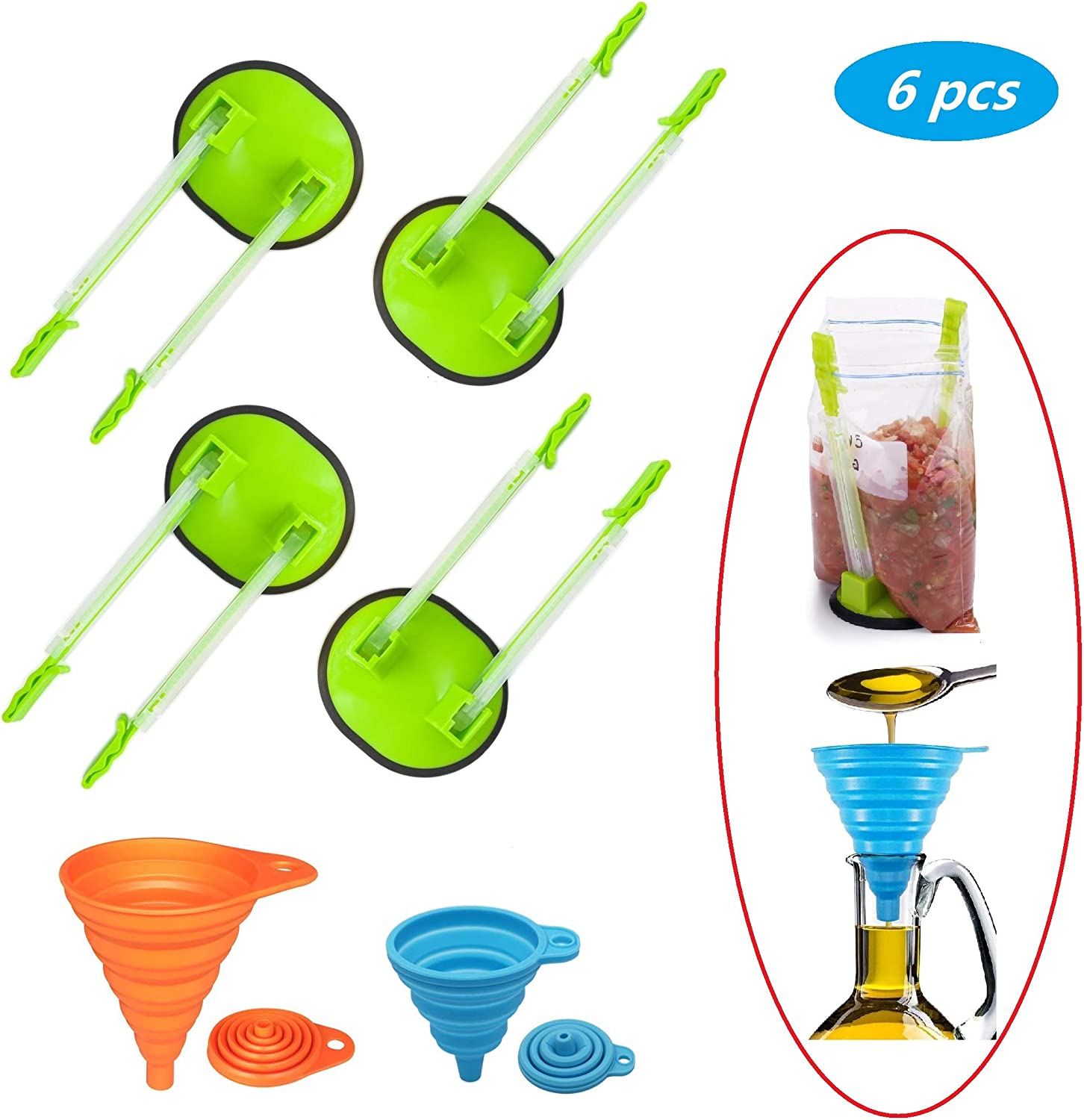 YIYATOO 4 pcs Baggy Rack and 2 pcs Folding Funnel, Clip Food Storage Bags Onto Holder, Best Opener for Freezer & Storage Baggie - Ideal Plastic Kitchen Gadget