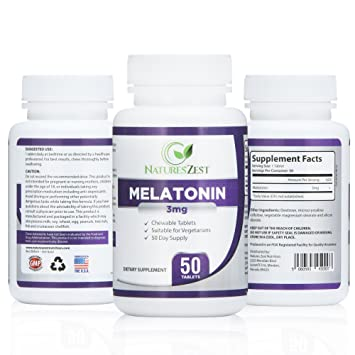 Melatonin 3mg (50 Capsules) – Sleep Aid Supplement, Regulates Sleep/Wake Cycles