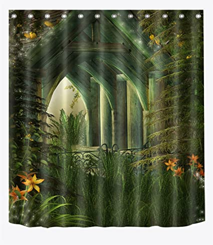 LB Wood Cabin In Magic Woods Shower Curtains For Bathroom Fairy Tale Enchanted Forest Print