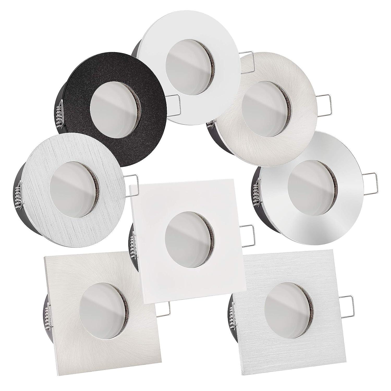WeiãÿRund 1x Premium LED Bad-Einbauspot Aluminium 6W  230V & IP65  RGB + 2700-6500K stufenlos einstellbar & dimmbar  35mm flach  6W statt 70W  120° Milchglas  Lista Aqua Auswahl (weiß rund)