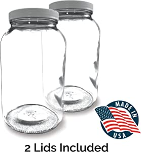 (2 PACK) Bolt Goods 1 Gallon Wide Mouth Glass Mason Jar + Airtight Plastic Lid with Liner Seal + USA MADE + Ferment & Store Kombucha Tea or Kefir for Canning, Pickling & Preserving, Dishwasher Safe