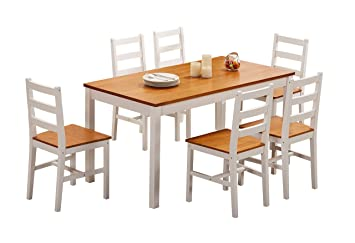 YAKOE Solid Pine Dining Table Plus 6 Chairs Set, Wood, White/Honey,