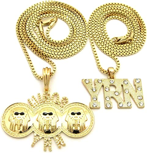 """Hip Hop Iced Out Migos YRN Rocket Pendant /& 24/"""" 30/"""" Box Chain 2 Necklace Set"""