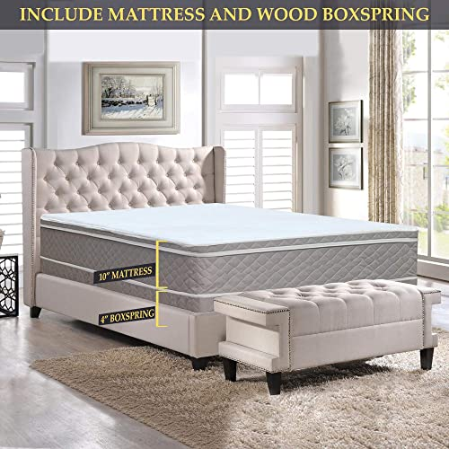 "Nutan 10-Inch Medium plush"" Eurotop Innerspring Mattress And 4-Inch Wood Boxspring/Foundation Set Queen"