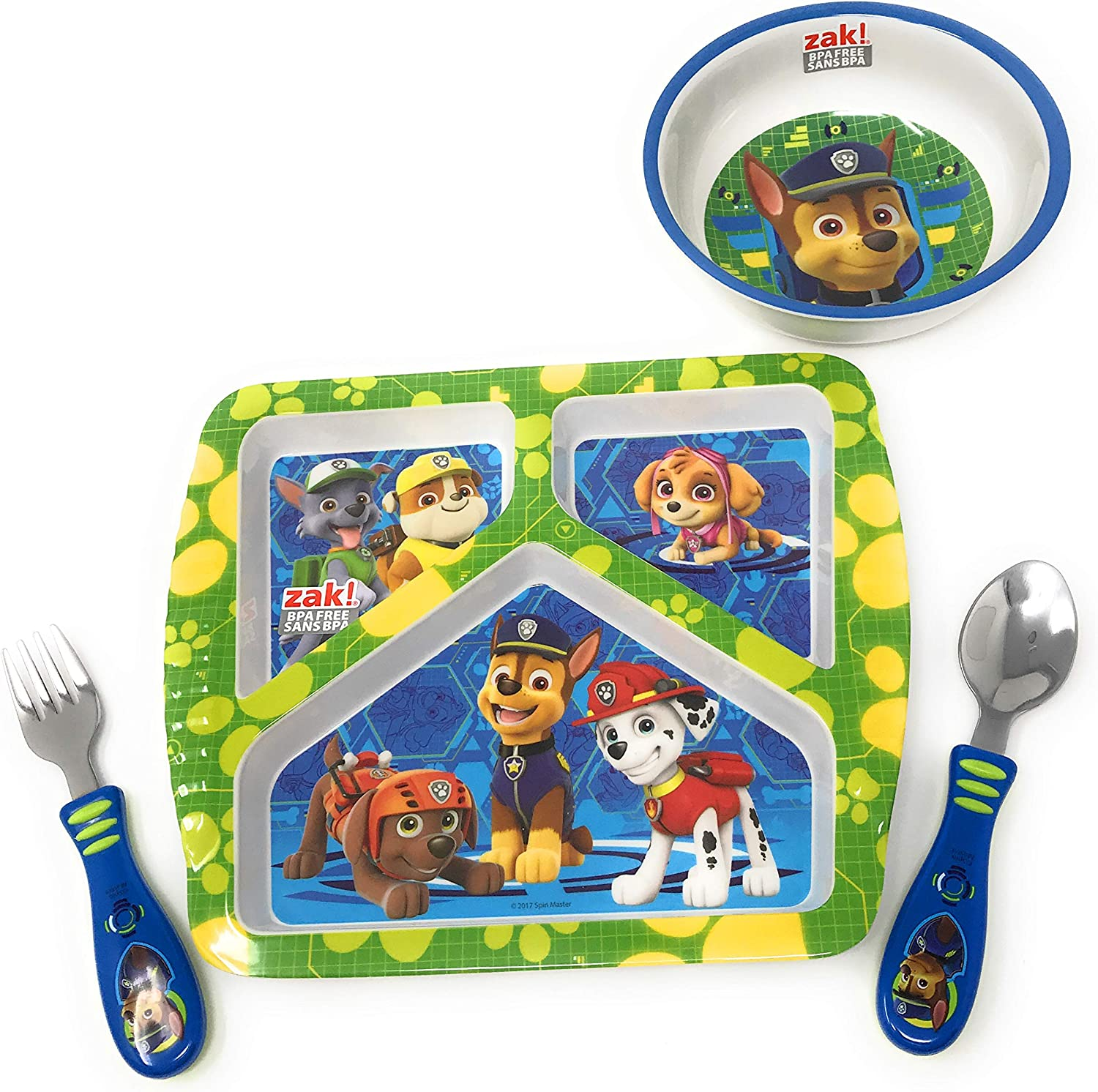 and Tumbler Featuring Skye and Everest from Nickelodeons Paw Patrol Designs 3-Piece Mealtime Set Includes Plate Break-Resistant and BPA-Free Plastic Bowl Zak