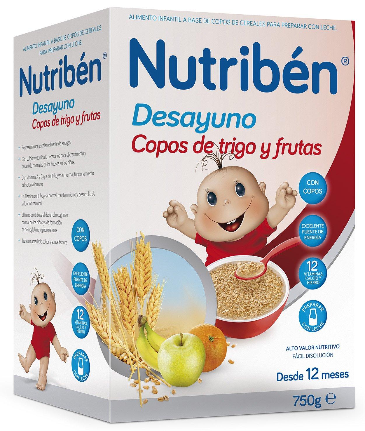 Nutribén Papilla Desayuno Copos Trigo y Frutas - Paquete de 6 x 750 gr - Total: 4500 gr: Amazon.es: Alimentación y bebidas