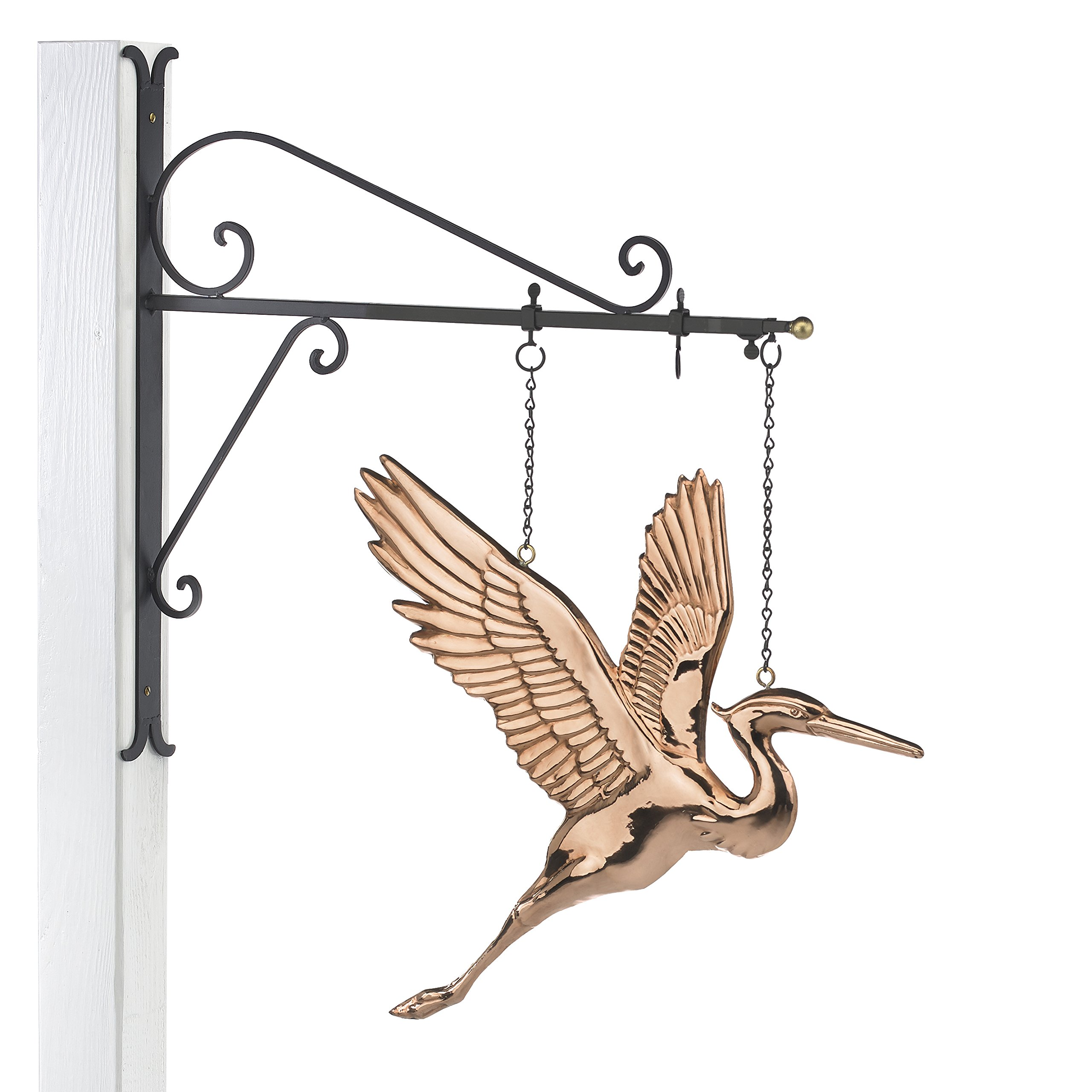 Good Directions Hanging Blue Heron Pure Copper Weathervane Sign with Decorative Scroll Wall Bracket - Welcome Sign, Home / Entrance / Entryway Décor