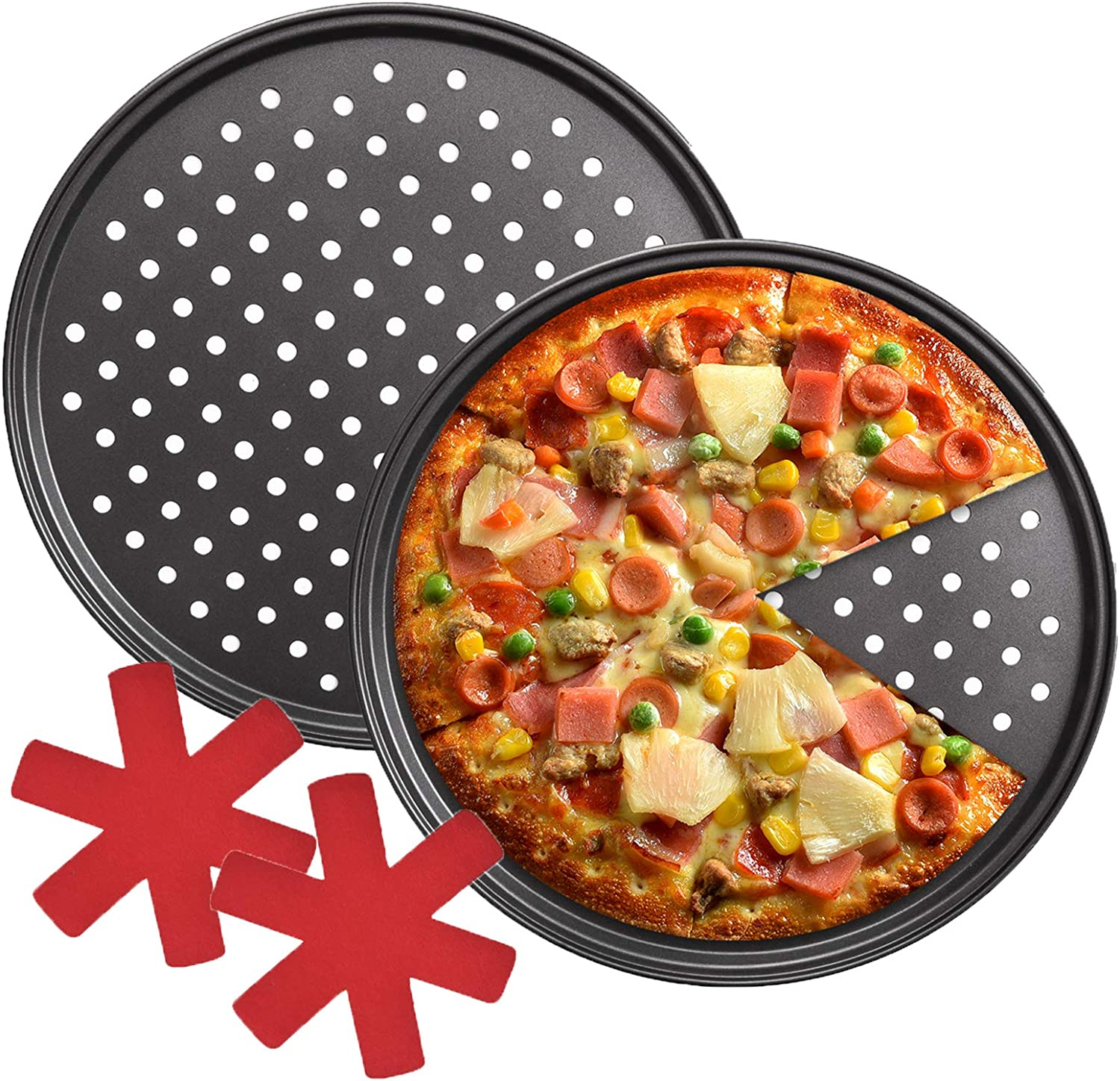 Round Pizza Bakeware for Home Kitchen Oven Pizza Pan with Holes for Oven 12 Inch Non-Stick Carbon Steel Perforated Pizza Crisper Pan