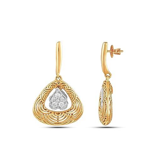 Ghanasingh Be True 18KT Yellow Gold and Diamond Stud Earrings for Women Women